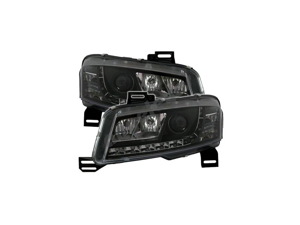 Fiat Stilo predné svetlá čierne s LED pásom, 3 dv.