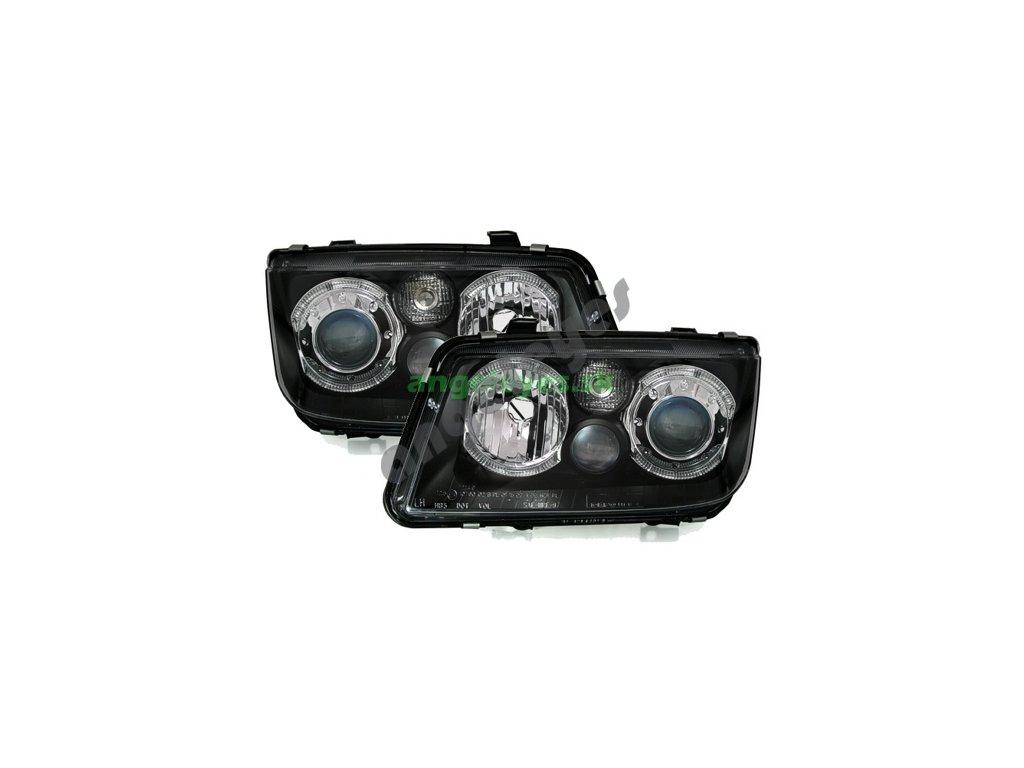 VW Bora predné svetlá Angel Eyes čierne
