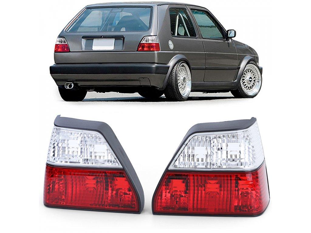 VW Golf 2 zadné svetlá červeno-biele