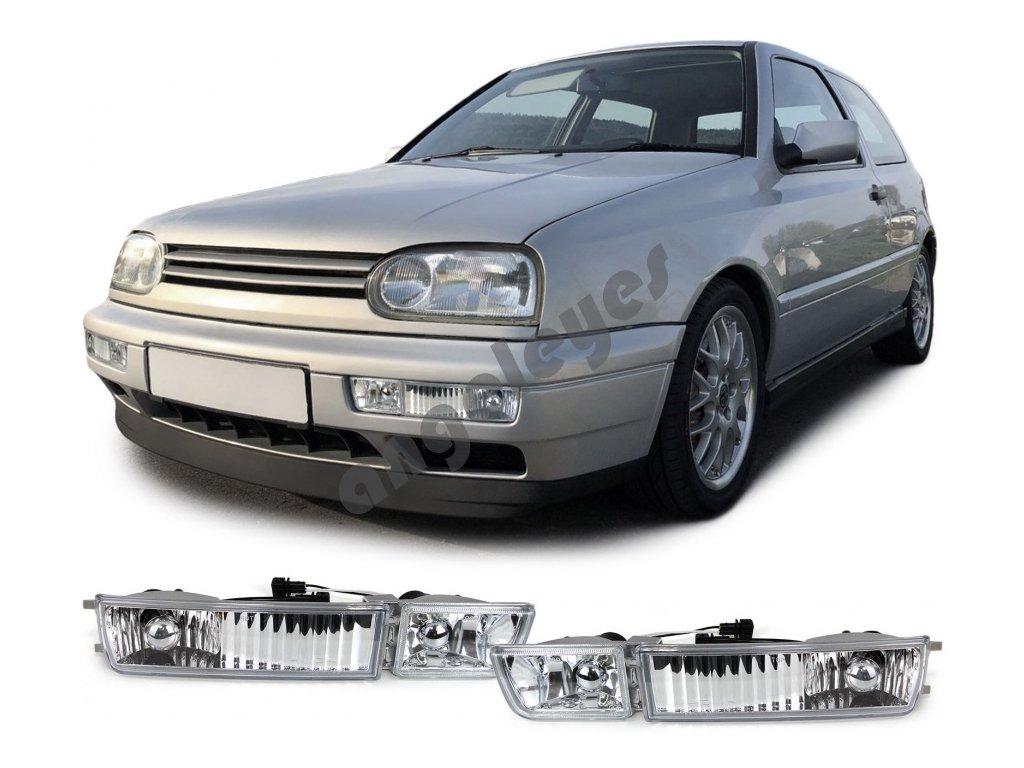 VW Golf 3 predné smerovky číre chrómové s hmlovkami