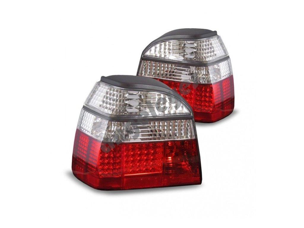 zadné svetlá červeno-biele LED VW Golf 3