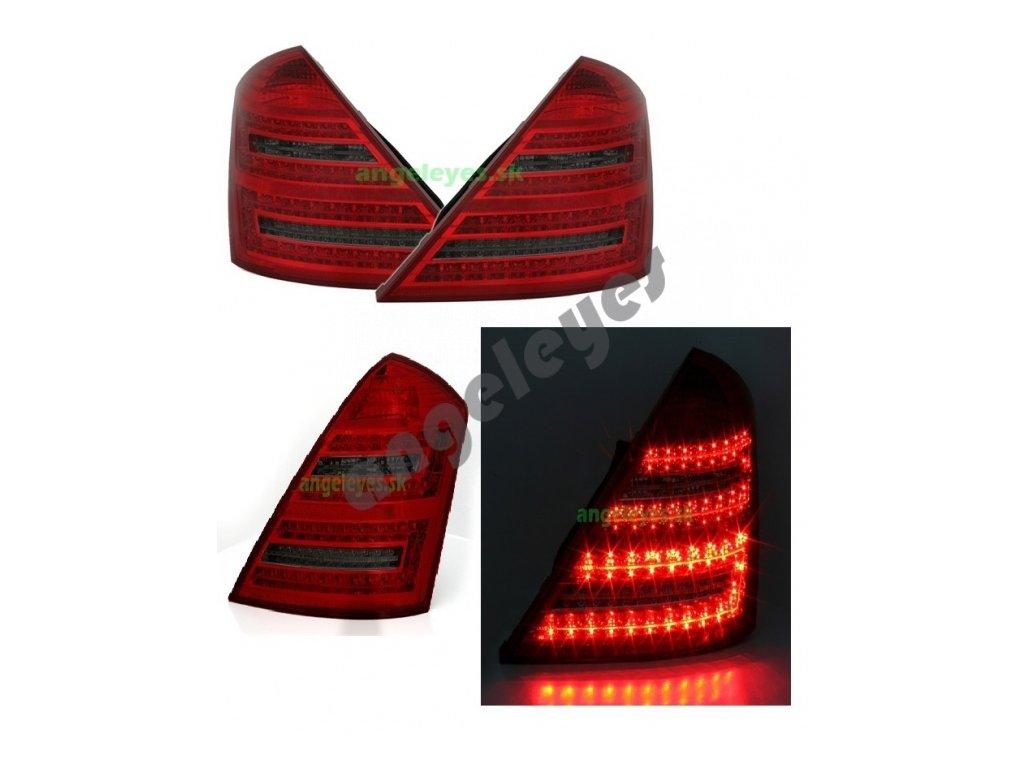 Mercedes S W221 zadné LED svetlá, červeno - čierne, rv. 05-3/09