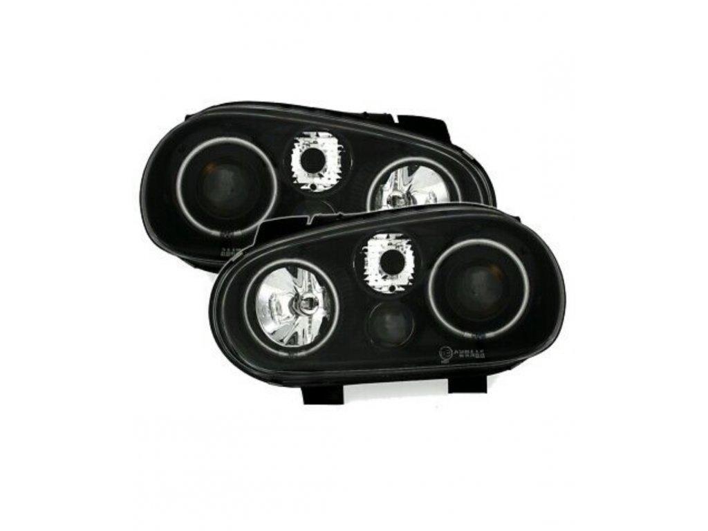 VW Golf 4 predné svetlá CCFL Angel Eyes s hmlovkou čierne