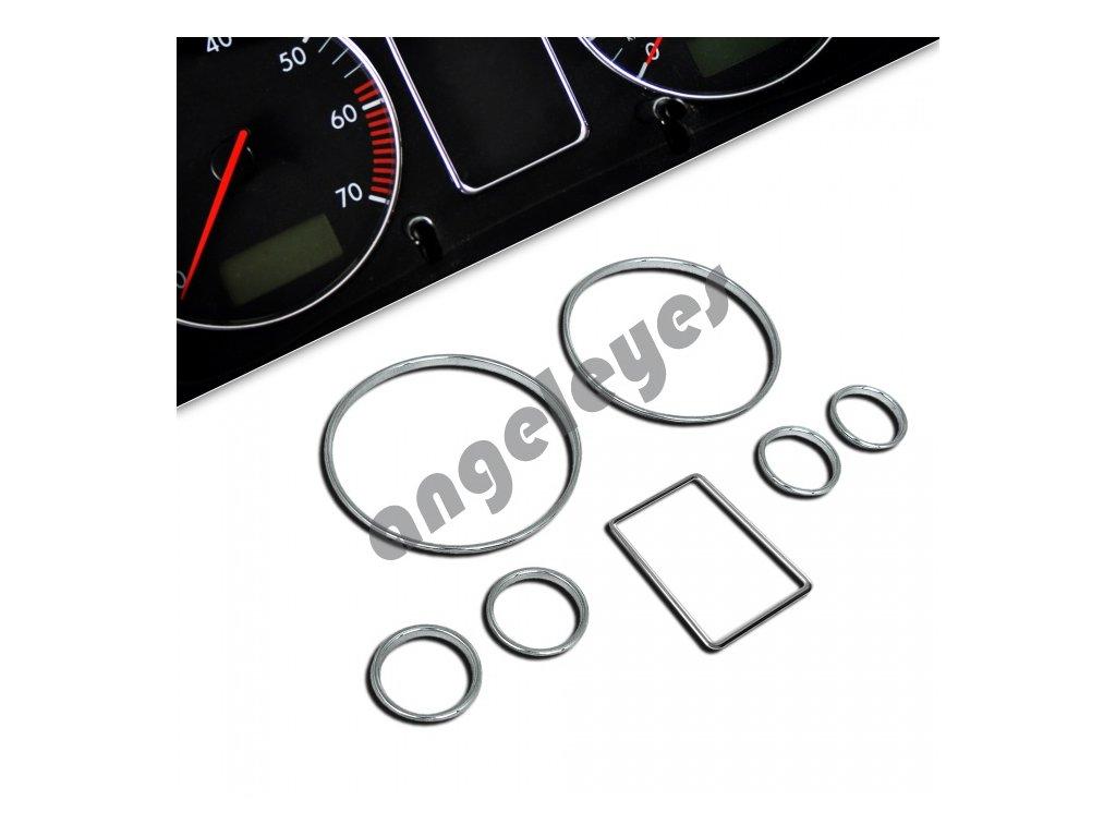 Chróm krúžky na tachometer pre Audi A4, A6
