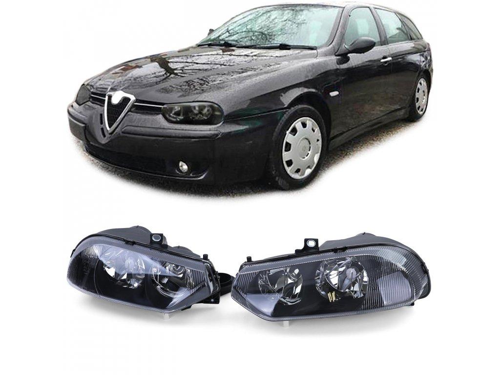 Predné svetlá pre Alfa Romeo 156 v čiernom prevedení