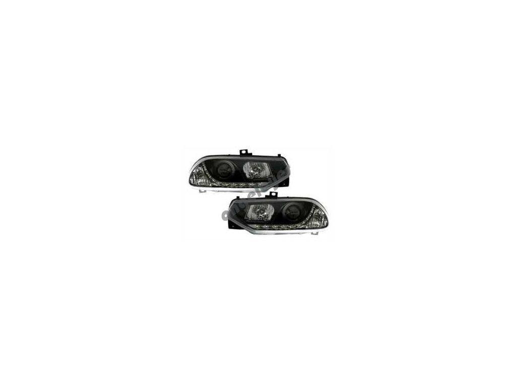 Predné svetlá s LED pásom Alfa Romeo 156 čierne