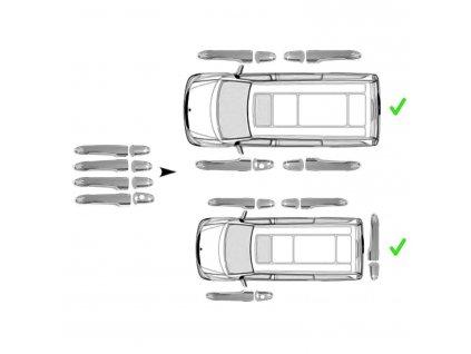 Chrómové kryty kľučiek Mercedes W639,W414,Vito,Viano,Vaneo