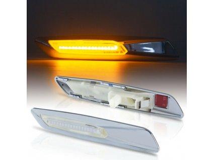 BMW bočné LED smerovky chrómové s rámikom