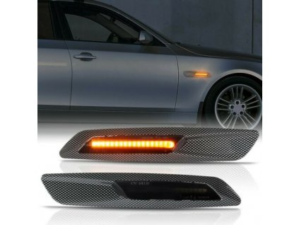 BMW bočné LED smerovky zatmavené s 3D carbon rámikom