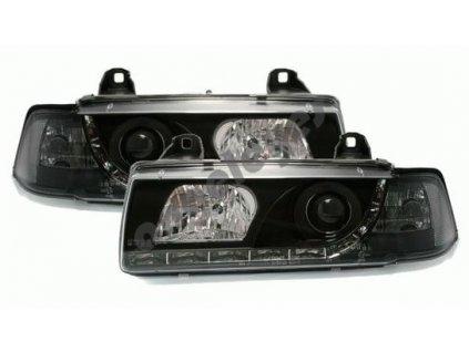 BMW E36 predné čierne svetlá s LED pásom