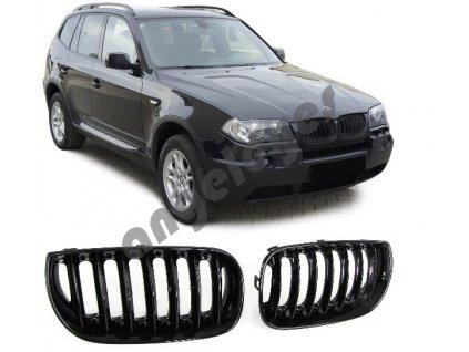 BMW X3 E83 predná čierna lesklá maska bez znaku, rv. 03-06