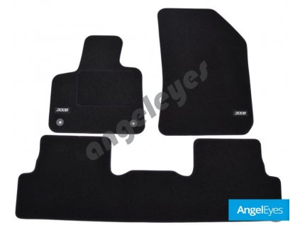 Čierne koberce pre Peugeot 3008, od rv. 2017-