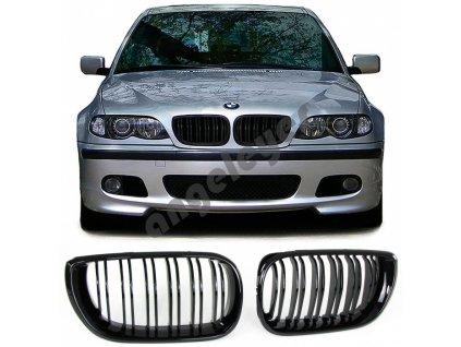 BMW E46 predná čierna maska dvojité lišty, rv. 01-05