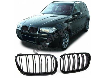 BMW X3 E83 predná čierna maska s dvojitými lištami bez znaku,...
