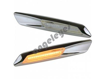 BMW bočné dynamické LED smerovky chrómové s rámikom