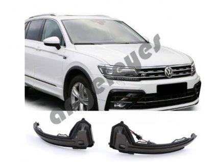Dynamické LED čierne smerovky do spätných zrkadiel pre VW...