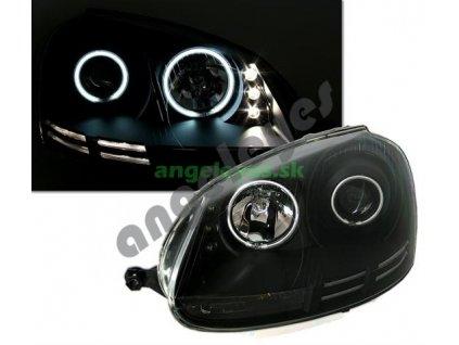 VW Golf 5 predné svetlá s CCFL krúžkami Angel Eyes čierne