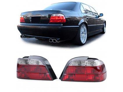 BMW E38 zadné svetlá červeno biele