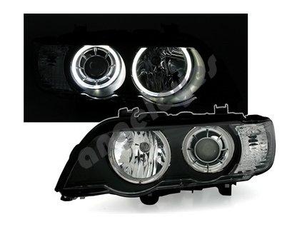 BMW X5 svetlá s bielymi krúžkami