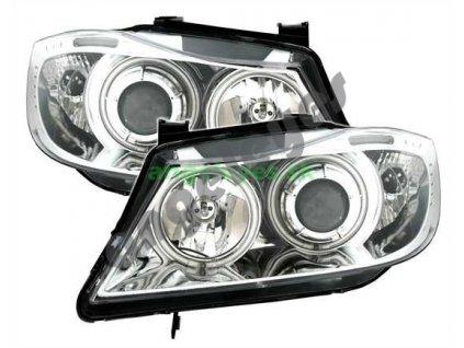 BMW E90, E91 predné svetlá CCFL Angel Eyes chrómové od rv. 06