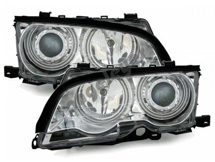 BMW E46 Coupe + Cabrio predné svetlá CCFL Angel Eyes chróm