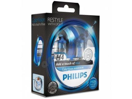 Žiarovky Philips H4 ColorVision Blue 12V 60/55W, 2 kusy