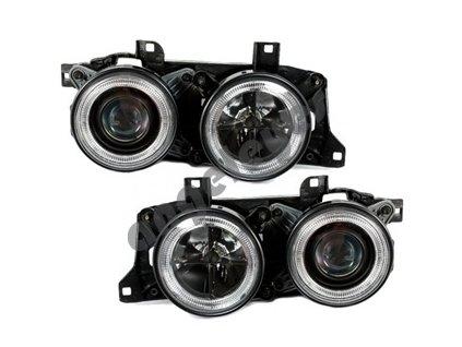 BMW E34 + E32 predné svetlá Angel Eyes čierne