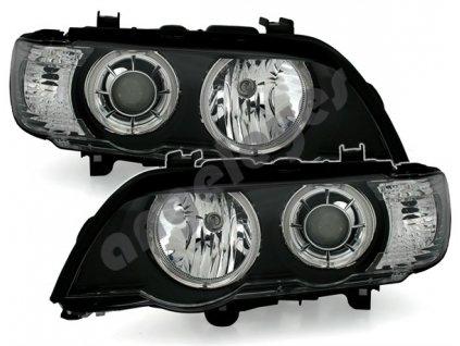 BMW X5 predné svetlá pre xenon s Angel Eyes s bielymi krúžkami