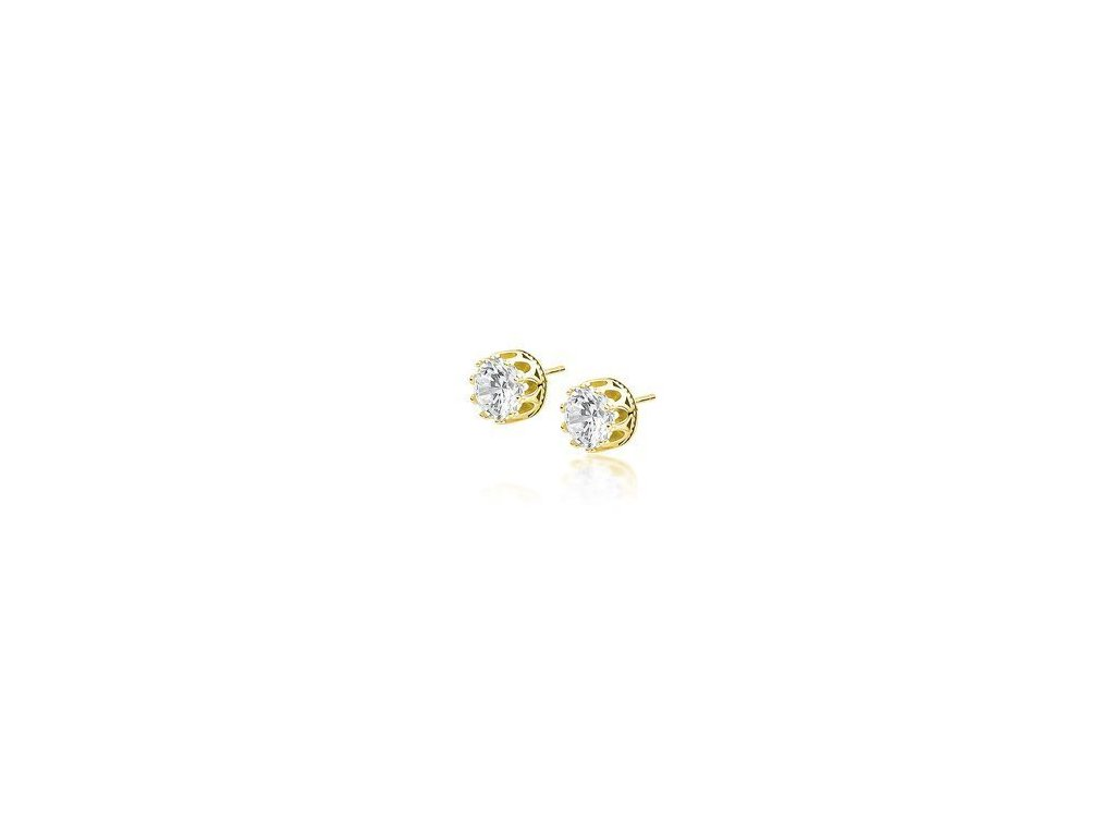 eng is Silver 925 gold plated earrings round white zirconia 13198