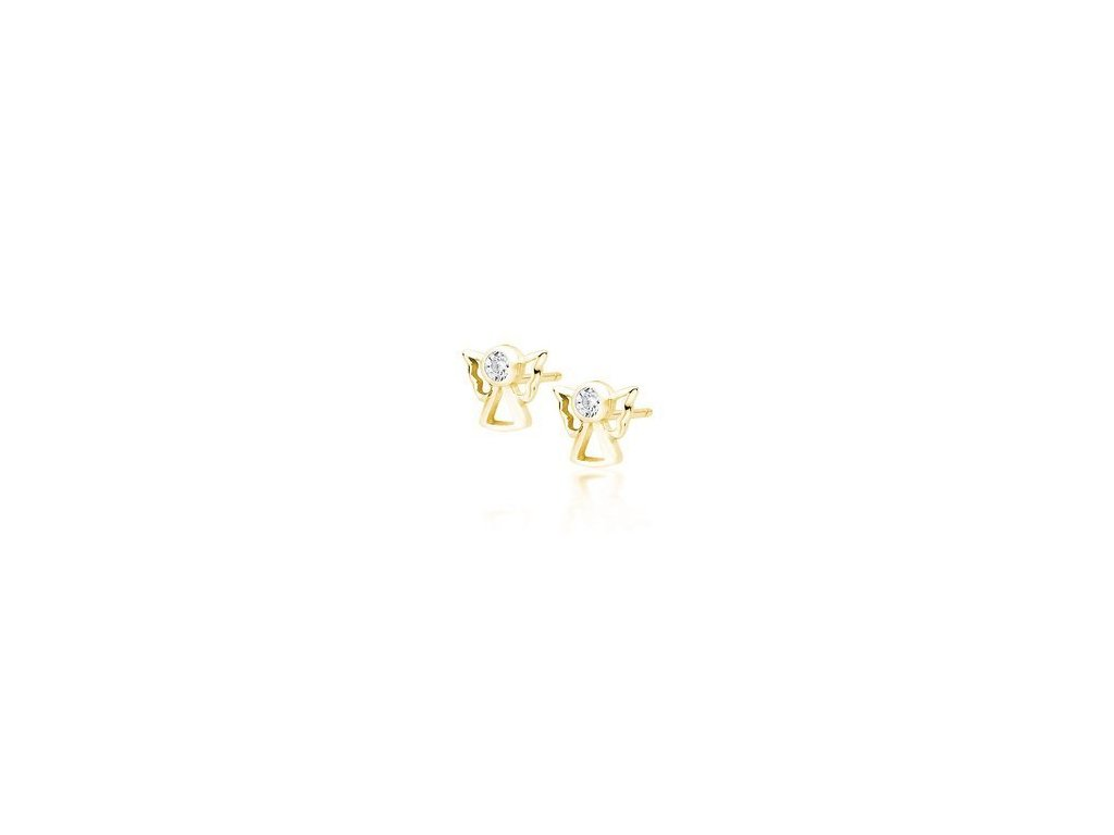eng is Silver 925 gold plated earrings angels with white zirconia 13404 96kc