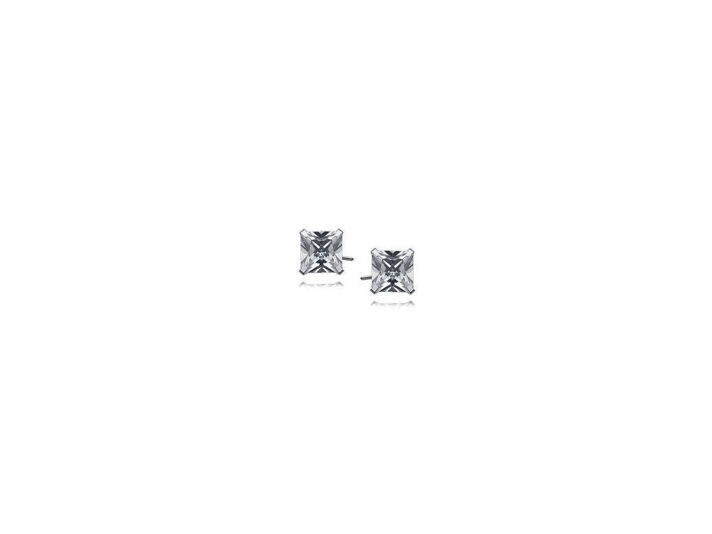 eng is Silver 925 earrings white zirconia 7 x 7mm square 9754