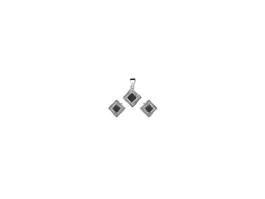eng is Silver Set 925 impressive white and black zirconia rhombus 10242