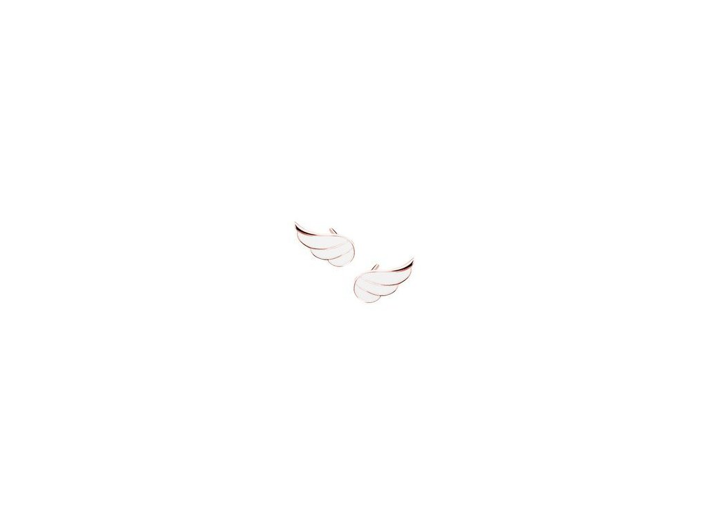 eng is Silver 925 rose gold plated earrings wings with white enamel 13297
