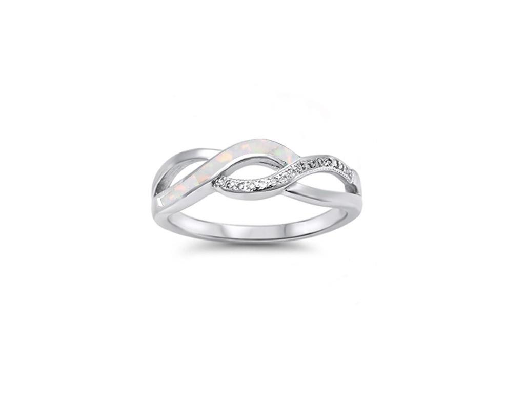 Angelite prsten bílý opál (Velikost 47)
