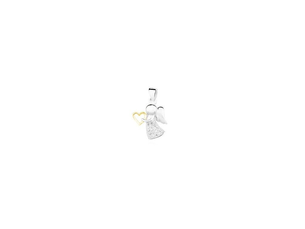 eng is Silver 925 angel pendant with zirconia and gold plated heart 12903