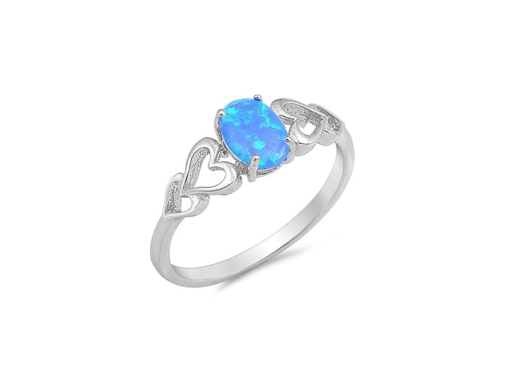 Angelite stříbrný prsten s opálem. (Velikost 61)