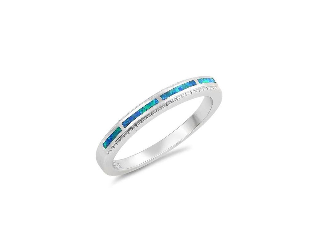Angelite prsten jemný kroužek s proužkem modrého opálu (Velikost 59)