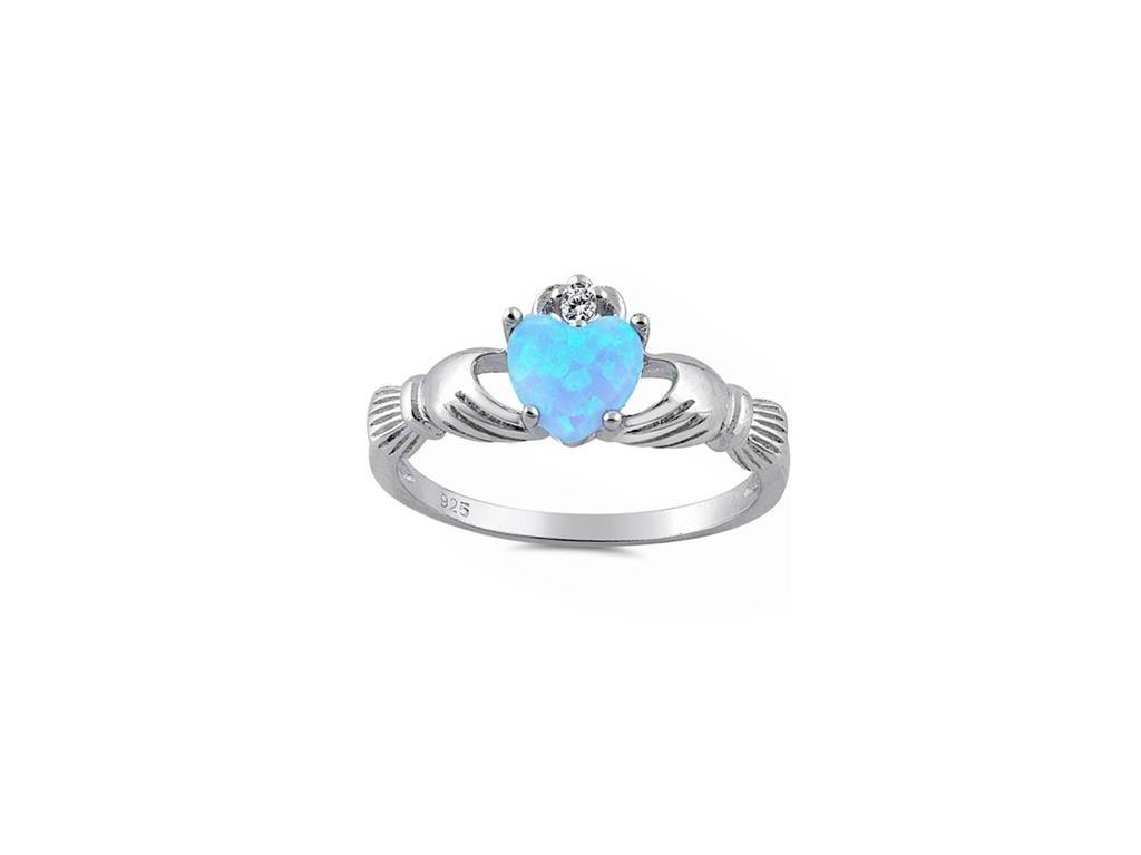 Angelite prsten Claddagh s bleděmodrým opálem (Velikost 56)