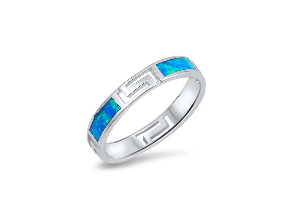 Angelite prsten s řeckým vzorem a modrým opálem (Velikost 50)