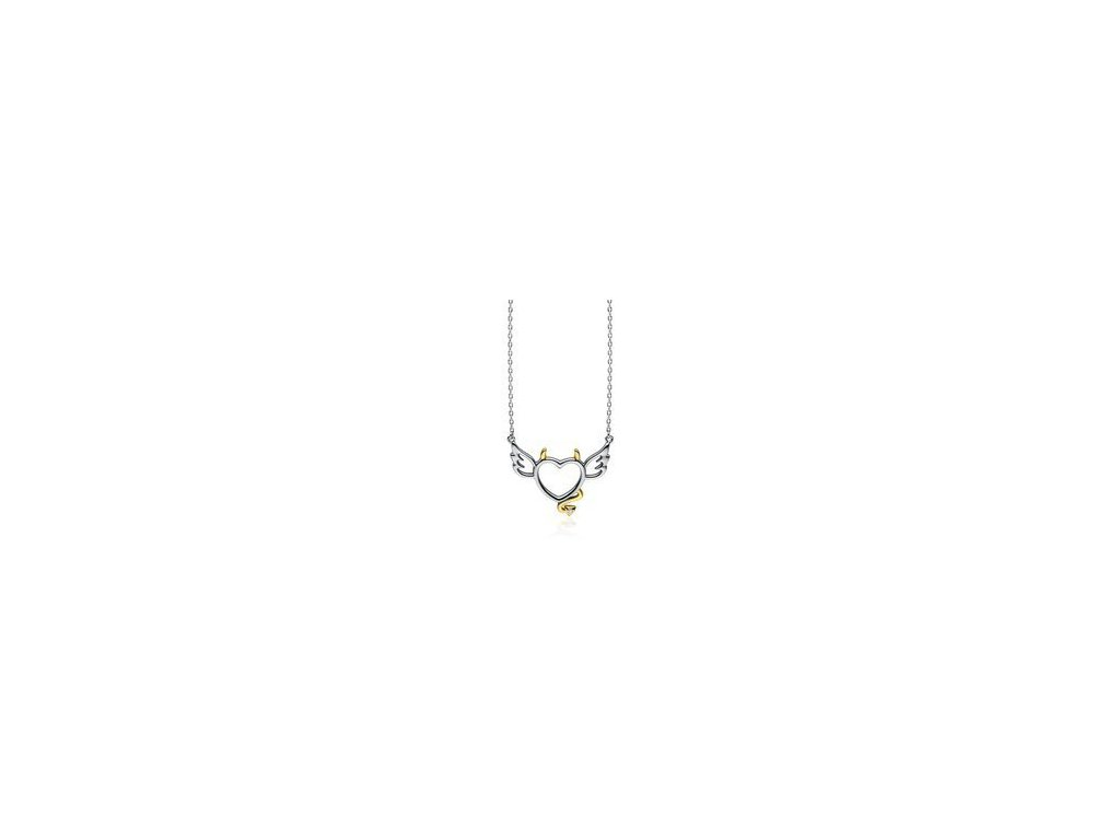 eng is Silver 925 necklace devil heart with zirconia gold plated tail and horns 13195