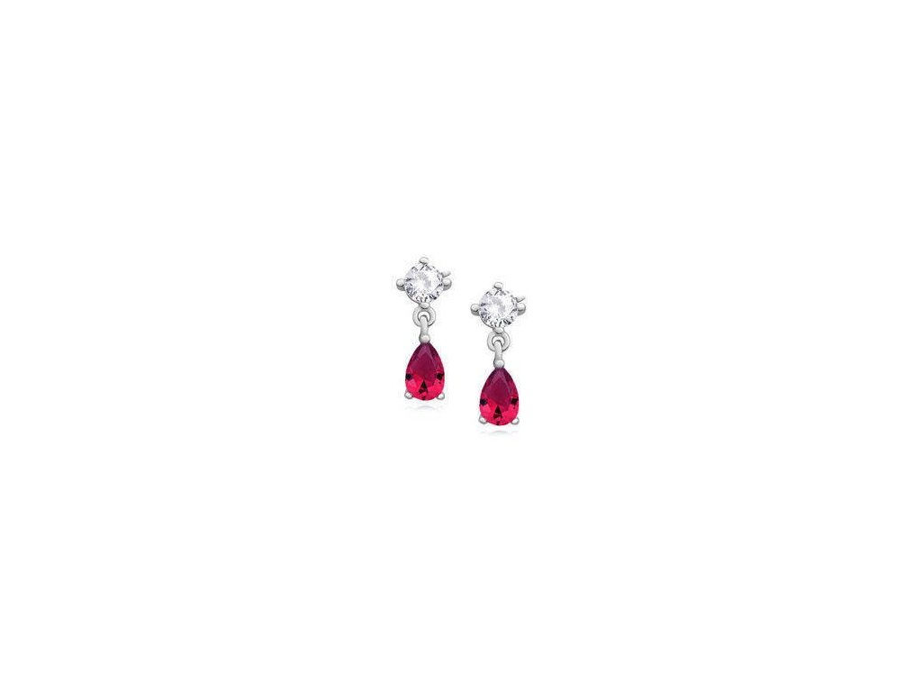 eng il Silver 925 elegant earrings with ruby zirconia 10831