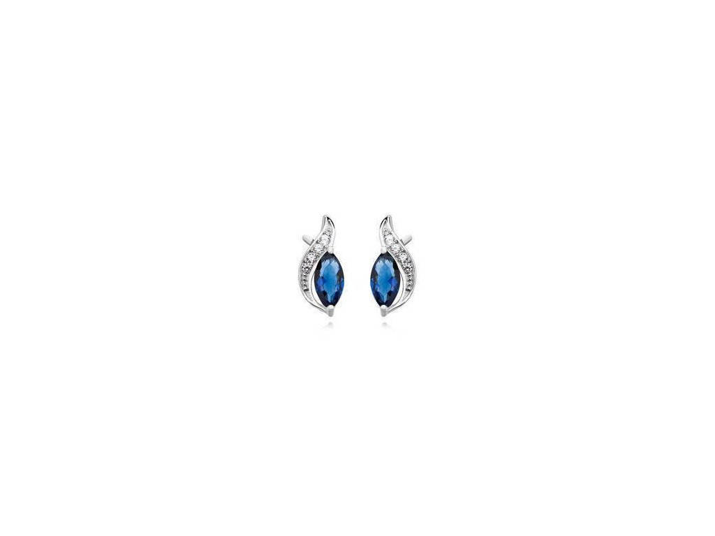 eng il Silver 925 elegant earrings with sapphire marquoise zirconia 10498