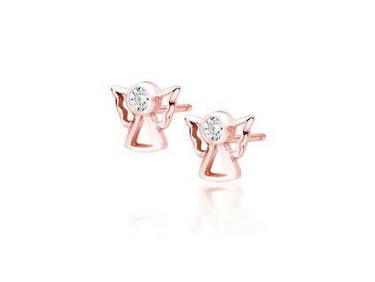 eng is Silver 925 rose gold plated earrings angels with white zirconia 13406 96kc