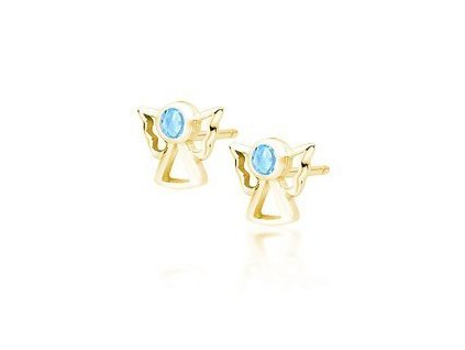 eng is Silver 925 gold plated earrings angels with aquamarine zirconia 13405 96kc
