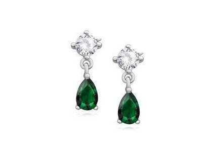 eng il Silver 925 elegant earrings with emerald zirconia 10812