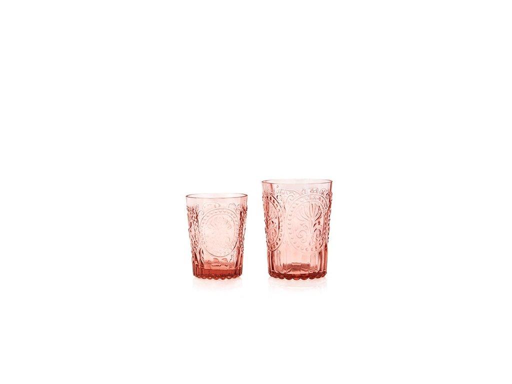 Sklenka Fleur de Lys glass malá růžová
