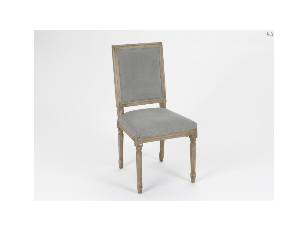 Židle dřevěná s polstrováním, šedá