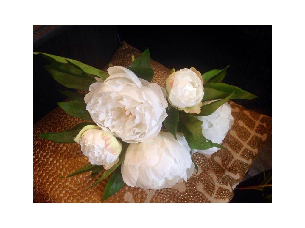 Umělá květina - Pivoňka kytice bílá