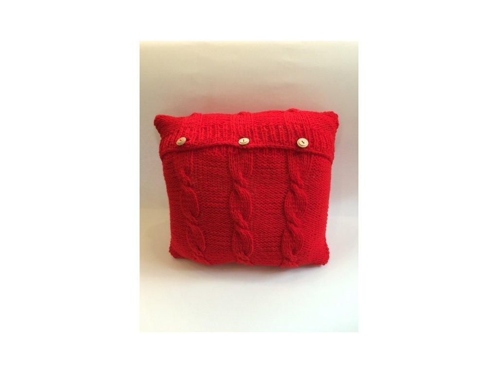 Polštář pletený červený