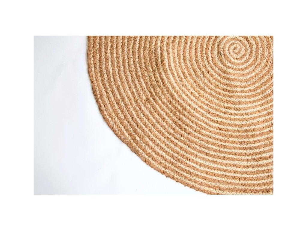 Kruhový koberec z juty a hnědé textílie 120